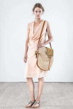 Spring 2015 Ready-to-Wear - Vanessa Bruno -- Draped cowl collared, sleeveless, knee-length, peach silk dress.