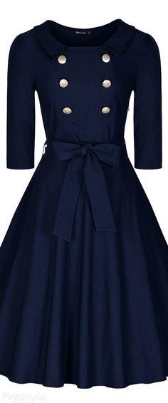 Classy 3/4 Sleeve Vintage Swing Dress