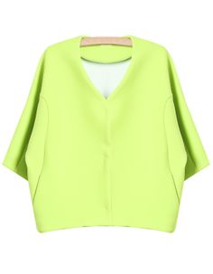 Green V Neck Simple Design Crop Coat 0.00