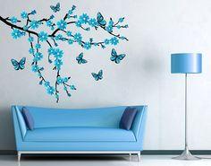 Wandsticker Floraler Zweig mit Schmetterlingen