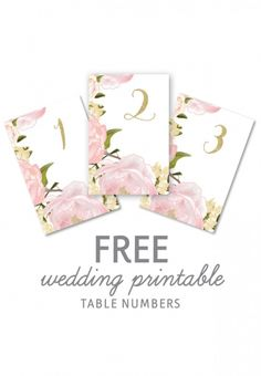 free printable table numbers - floral