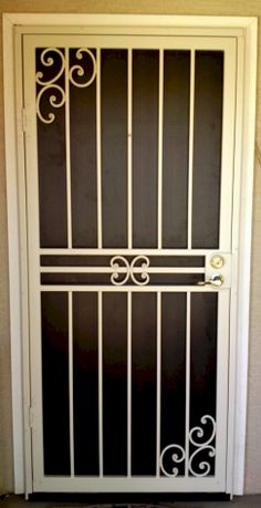 Iron Security Door Ideas With Beautiful Design You Can Use For Your Home - window ideas Door Grill, Window Grill Design, Steel Security Doors, Security Gates, Security Screen Doors, Metal Gates, Wrought Iron Gates, Door Gate Design, Iron Furniture