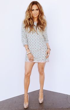 Jennifer Lopez's Head-to-Toe Looks From American Idol - MAY 2, 2014 Lopez chose chose a mint and silver Lorena Sarbu fully embellished geometric print minidress, paired with nude pumps.