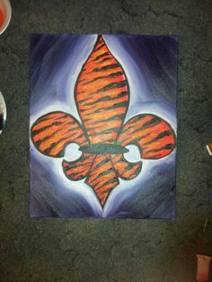 Tiger fleur de lis done with oil paints