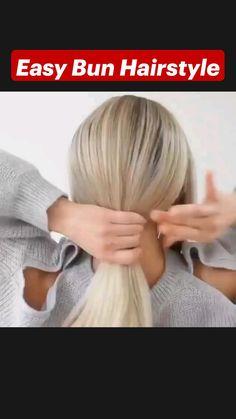 Hairdo For Long Hair, Bun Hairstyles For Long Hair, Pretty Hairstyles, Hair Tutorials For Medium Hair, Medium Hair Styles, Short Hair Styles, Hair Upstyles, Hair Videos, Hair Hacks