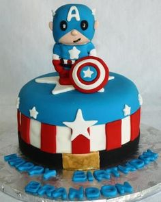 Captain America Sugar Figure Avengers Birthday Cake