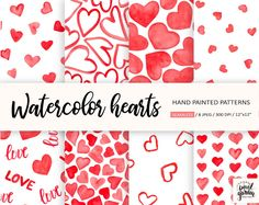 Watercolor Hearts Digital Paper. Valentines Day Digital | Etsy