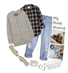 """""""My Friday Morning'"""" by dianefantasy ❤ liked on Polyvore featuring Levi's, R13, Lugz, Rifle Paper Co, NLST, Potting Shed Creations and Smith & Hawken"""