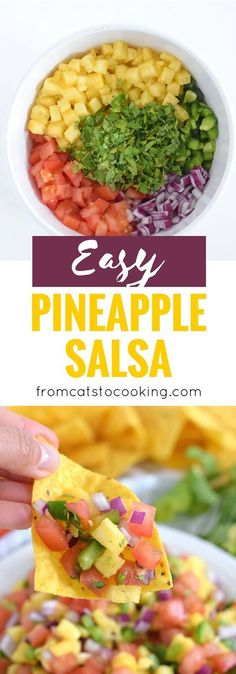 This Fresh and Easy Pineapple Salsa recipe only requires 6 ingredients and 15 minutes to make. It's the perfect appetizer for your next party and would also go great on some super delish fish tacos for a little crunch. // (paleo whole 30 vegeta Mexican Food Recipes, Vegetarian Recipes, Cooking Recipes, Healthy Recipes, Delicious Recipes, Beef Recipes, Vegetarian Mexican, Delicious Appetizers, Healthy Appetizers