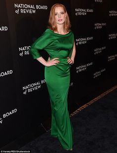 Out of this world: Jessica Chastain put on a stellar display in a green satin gown at the National Board of Review Awards Gala on Tuesday night