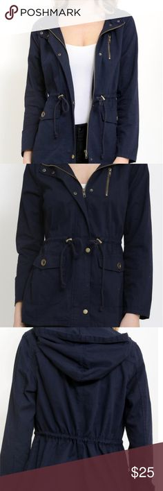 Lightweight Utility Jacket, Navy Brand new with tags, lightweight utility jacket with large front patch pockets with buttoned flaps and cinched drawstring waist. 100% cotton, 27 inch length. In Navy. 1 Funky USA Jackets & Coats Utility Jackets