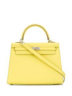 Hermès Pre-Owned Kelly Sellier handbag - Yellow Hermes Handbags, Cheap Handbags, Handbags On Sale, Satchel Handbags, Leather Crossbody Bag, Leather Purses, Yellow Handbag, Summer Purses, Kelly Bag