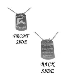 The Family Prayer Aequitas Veritas Saints Prayer GUN Double Sided Design Logo Symbol  Military Dog Tag Luggage Tag Metal Chain Necklace -- Learn more by visiting the image link.