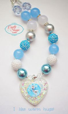Olaf Frozen Chunky Necklace, Girls Chunky Necklace, White, Blue, Glitter, Gumball Bubblegum Beads, large heart pendant, snowflake