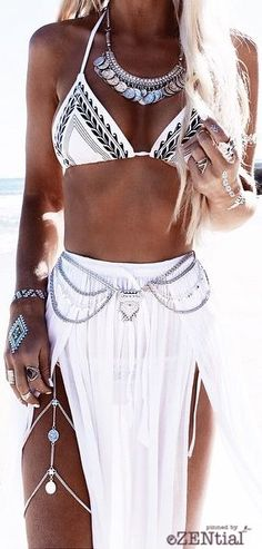 Boho chic white hippie bikini top and gypsy skirt. For the BEST New Bohemian Street Style Fashion Trends FOLLOW https://www.pinterest.com/happygolicky/the-best-boho-chic-fashion-bohemian-jewelry-gypsy-/ now!