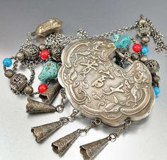 Antique Chinese Silver Lock Necklace Coral Turquoise by boylerpf