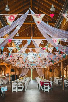 mismatched pattern bunting and long tables barn wedding decor Wedding 2015, Wedding Pics, Our Wedding, Dream Wedding, Wedding Ideas, Wedding Set, Chic Wedding, Wedding Bunting, Wedding Reception Decorations