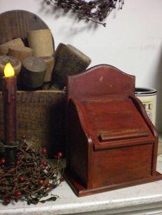 Primitive Wooden Red Recipe Box Wood Keeping Box | eBay