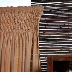 On Sale Textured Cotton Smocked Khaki Curtain Panel