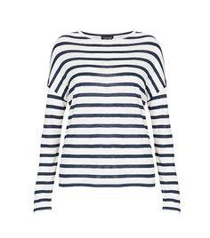 Topshop Linen Stripe Long Sleeve Tee #preppy #style
