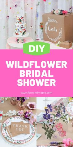 Throw a Wildflower Shower for the bride or mother-to-be who is Wild at Heart with these ideas for DIY Backdrop, DIY Signage, and DIY Wildflower Chargers. Get all of the details now at fernandmaple.com!