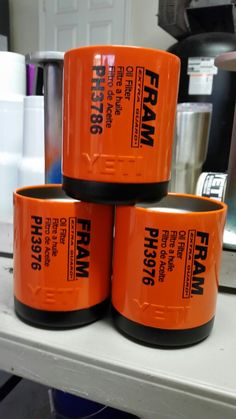 Powder coated and laser etched to look like a Fram oil filter.