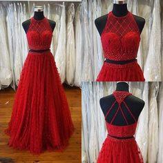 Charming Prom Dress,Tulle Prom Dress,Two Pieces Prom Dress,Beading Prom Dress