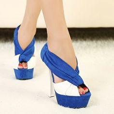 Vogue White And Deep Blue Splicing Cross Strap Sandals