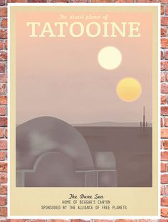 Retro Travel Poster Star Wars Tatooine MANY by TeacupPiranha