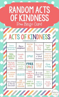 Random Acts of Kindness for Kids with Free Bingo Card Use this random acts of kindness for kids bingo card and these 25 acts of kindness to help teach the importance of kindness. Kindness For Kids, Teaching Kindness, World Kindness Day, Kindness Activities, Kindness Matters, Activities For Kids, Random Acts Of Kindness Ideas For School, Bingo For Kids, Emotions Activities