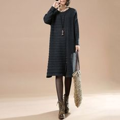 Autumn Women's Casual Long Sleeve Round Neck Pullover Gray Dress