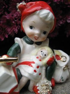 Vintage LEFTON Ceramic Christmas Elf & Doll Raggedy Ann Spaghetti Pixie