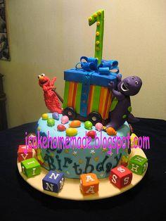 Barney and Elmo birthday cake   by Jcakehomemade