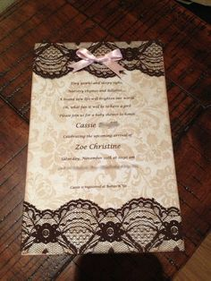 Lace baby shower invitation! DIY invitations  thedufflefamily.blogspot.com