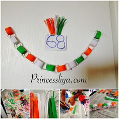 Independence Day crafts for kids - playing with tricolor