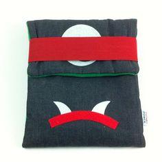 Niji is your ipad protector, ready to fight. Soft Sculpture, Sculptures, Ipad Sleeve, Designer Toys, Ipad Case, Plush, Throw Pillows, Handmade, Toss Pillows