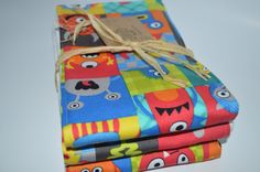 Colorful monster baby boy burp cloth set baby by GoodnessGrayson