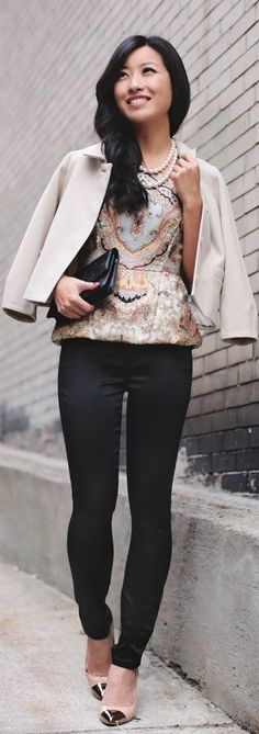 Tis The Season: #Black #Sateen Party #Pants And #Silk #Paisley by Extra Petite