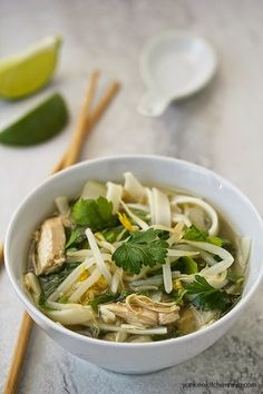 Vietnamese Chicken Pho - When you're craving something warm and takeout isn't a viable option, make this Vietnamese Pho soup. With a little bit of prep work the night before, and some spices you're sure to have on hand, recreate this wintertime favorite in no time. http://www.yankeekitchenninja.com/2015/03/slow-cooker-chicken-pho.html