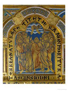 Retable de l'abbaye de Klosternebourg (banlieue de Vienne, Autriche), vers 1180, Nicolas de Verdun, école mosane. Cuivre doré émaillé. Détail de l'Ascension du Christ.