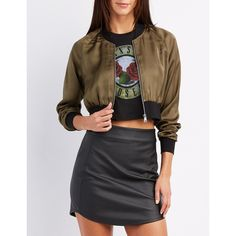 Charlotte Russe Satin Cropped Bomber Jacket (€23) ❤ liked on Polyvore featuring outerwear, jackets, olive, flight bomber jacket, bomber jacket, army green bomber jacket, zip bomber jacket and olive bomber jackets