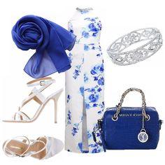 Abito lungo, bianco con fantasia di rose bluette, profondo spacco centrale, collana gioiello allo scollo. Abbinato ad un sandalo bianco dal tacco a stiletto. Piccola borsa in pelle blue con manici e particolari in acciaio. Stola bluette, bracciale con pietre.
