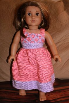 Doll Dress - 18 inch doll dress - crocheted doll dress - little girls doll dress - crochet dress - american girl doll clothes - Doll Clothes