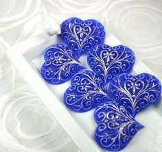 Blue Heart  Organic Glycerin Decorative Soap by Bmbyx on Etsy, $12.00