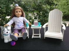 "Doll Adirondack Chairs table 18 in American Girl by BedsandThreads, Chairs: 12 ½"" tall by 7"" wide and 6 ½ ""deep.  The Adirondack table measures: 4 x 4 ½"" top by 5 "" tall."