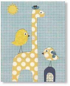 Giraffe nursery blue and yellow polka dot baby nursery - kids room decor birds - Personalized - Sunkissed print from Paris