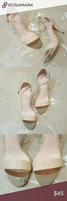 """Also Nude and Gold Heels I am selling a super chic pair of Aldo Heels.  This classic silhouette is a standing favorite of mine, they will make your legs look super long in this chic cream hue with faux croco embossed design. I adore the gold toe and buckle accents it adds some va va voom!!  Excellent condition worn twice.  Size 10 with a 3"""" heel. Aldo Shoes Heels"""
