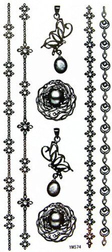 GGSELL YiMei jewelry waterproof and sweat necklace / bracelet / pendant tattoo sticker by YiMei. $3.69. Our temporary tattoos are certified by F.D.A, EN71, ASTM, safe and non-toxic. Use parts: Can be used in the skin, metal pottery, glass and other surfaces. Attached to the waist, chest, neck, arms, back, legs, bikini, paste any position you like, you can also cover scars, etc.. Instructions: 1) Skin should be clean and free of oils and makeup. 2) Remove clear protective...