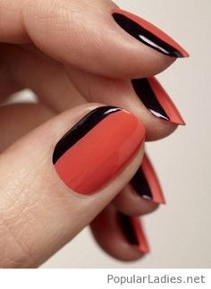 Side french manicure, coral and black