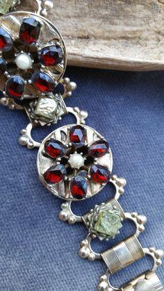 Gold filled Book Chain bracelet - Czech glass bracelet - Victorian revival bracelet - gold filled - Red Czech glass - Victorian pearl by SteamyAntiquities on Etsy